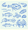 hand drawn seafood elements set vector image