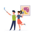 happy couple make selfie man and woman vector image vector image