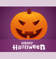 happy halloween smiling pumpkin face on purple vector image