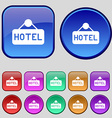 hotel icon sign A set of twelve vintage buttons vector image vector image