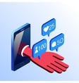 Isometric smartphone hand with notifications vector image