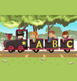 kids riding alphabet train vector image
