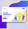 landing page template of business idea vector image vector image