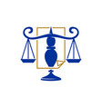 law justice firm balance scale paper logo design vector image vector image