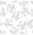 marigold outline seamless on white background vector image vector image