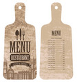 menu for restaurant in form cutting board vector image