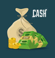 money bag bills and coins over blue background vector image vector image