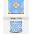 Pillow Big Flowers On Blue vector image