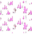 pink colored pastel seamless pattern fairy forest vector image vector image