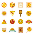 pizza icons set in flat style vector image vector image