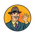 retro businessman ok gesture vector image vector image