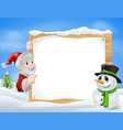 santa snowman cartoon sign vector image vector image
