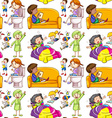 Seamless background with kids doing many vector image vector image