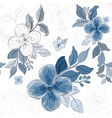 seamless pattern with blue bouquet floral vector image