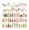 set alcohol drinks in glasses isolated on vector image vector image