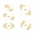 set cards with floral frames wedding ornament vector image