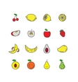 Set color line icons fruit vector image