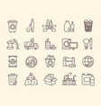 set icons for rubbish and waste disposal vector image