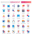 set trendy flat gradient media vector image