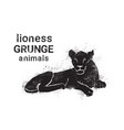 silhouette lioness in grunge design style animal vector image vector image