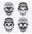 skull in helmet set biker theme design template vector image vector image