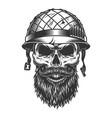 skull in soldier helmet vector image vector image