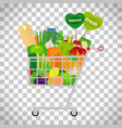 supermarket shopping cart with products vector image vector image