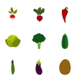 Types of vegetables icons set flat style vector image vector image