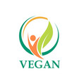 vegetarian leaf people logo vector image
