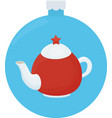 white and red teapot with red star cartoon vector image vector image