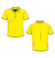 yellow polo template in front and back views vector image vector image