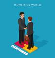 businessmen shake hands isometric vector image