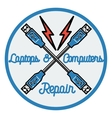 Color vintage repair computers and laptops emblem vector image