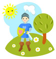 knight in the clearing vector image
