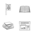 a signboard a bookstore a stack of books an vector image