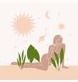 abstract desert poster girl plant sun vector image vector image