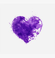 abstract ultraviolet purple grunge heart on white vector image vector image