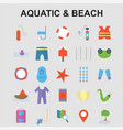 aquatic beach icons set vector image