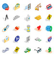 assistance icons set isometric style vector image