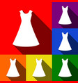 beautiful long dress sign set of icons vector image vector image