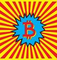 bitcoin icon in pop art explosion vector image vector image
