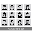 Black avatar icon set vector image