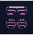 bright neon glasses sunglasses or club glasses vector image vector image