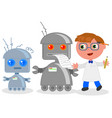 cartoon inventor with robots vector image vector image