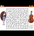 cartoon maze game with girl and violin vector image vector image