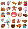 cartoon sweet food objects and candies set vector image