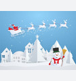 christmas card with santa claus flying over city vector image vector image