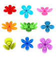 colorful flower paper with shadow on white vector image