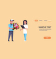 courier man giving bouquet flowers to woman vector image