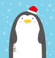 cute big fat penguin wear christmas hat vector image vector image